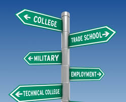 street sign arrows that say college, military, trade school, employment, technical college