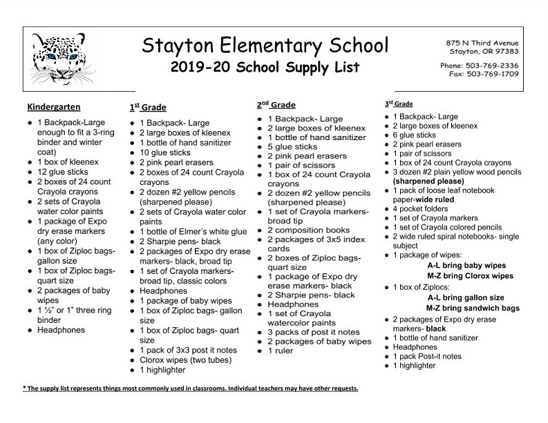 School Supply List / School Supply List
